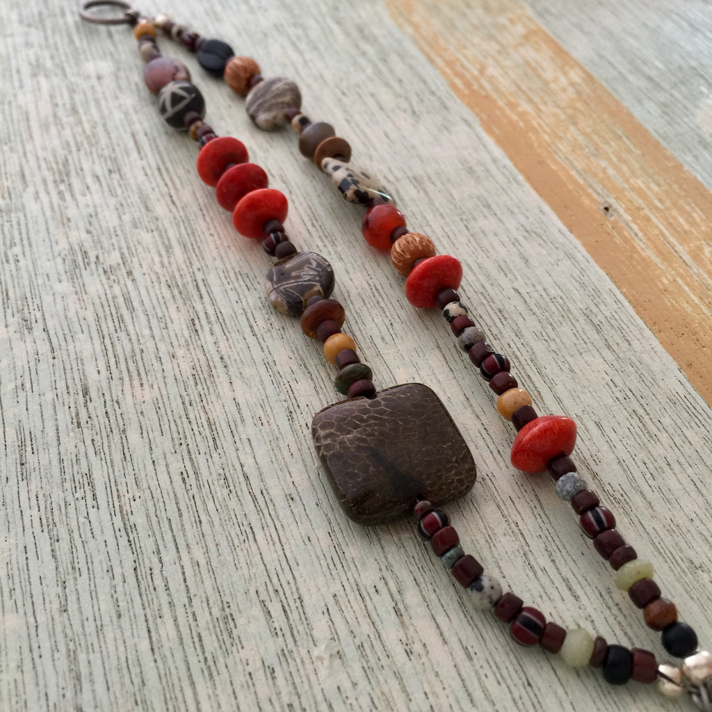Red & Brown double strand Bracelet