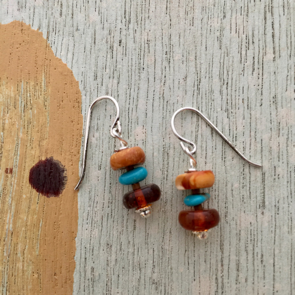 Baltic Amber & Sleeping Beauty Earrings