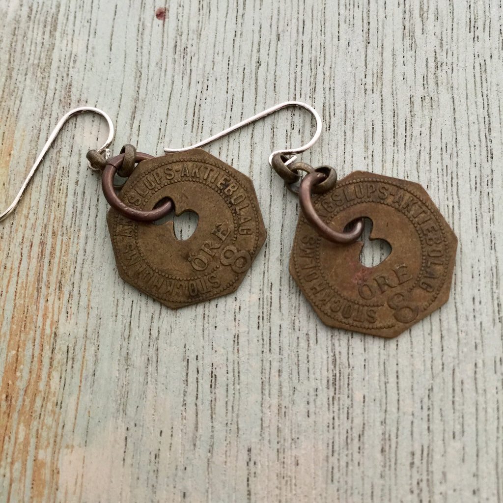 Swedish Steamhip Token Earring