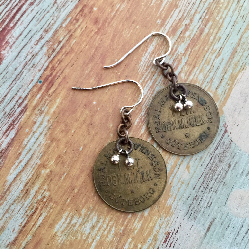 Swedish Steamship Token Earring