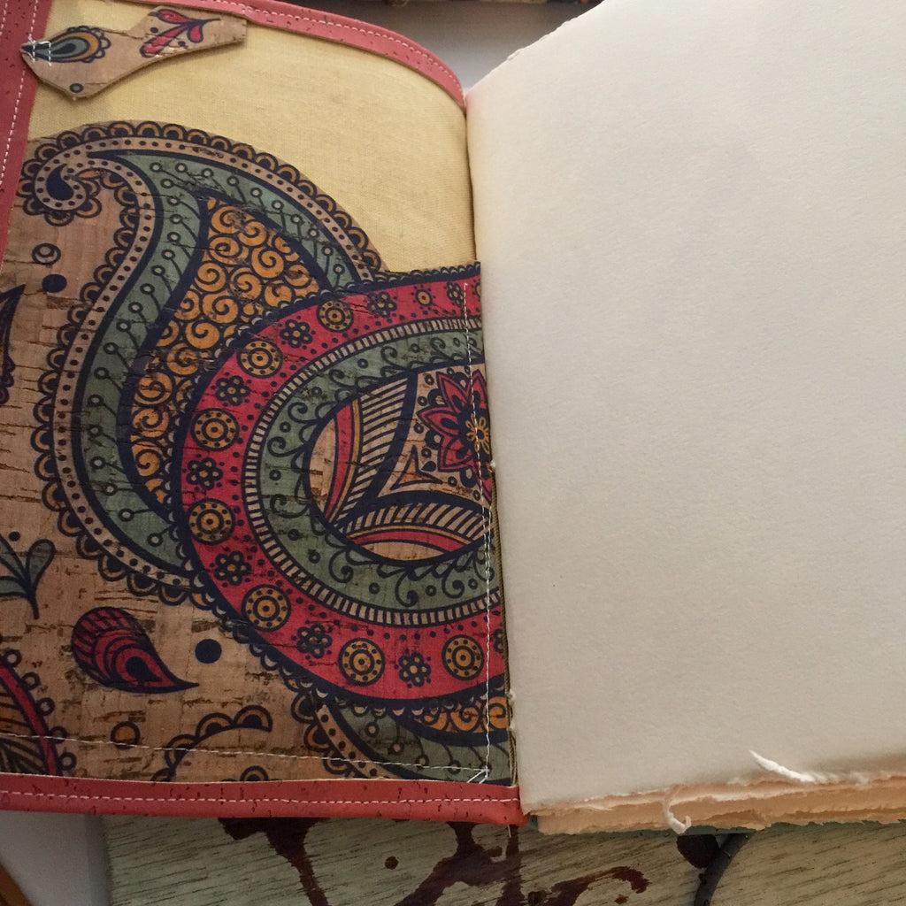 Paisly Cork Fabric - Handmade Journal/Sketch