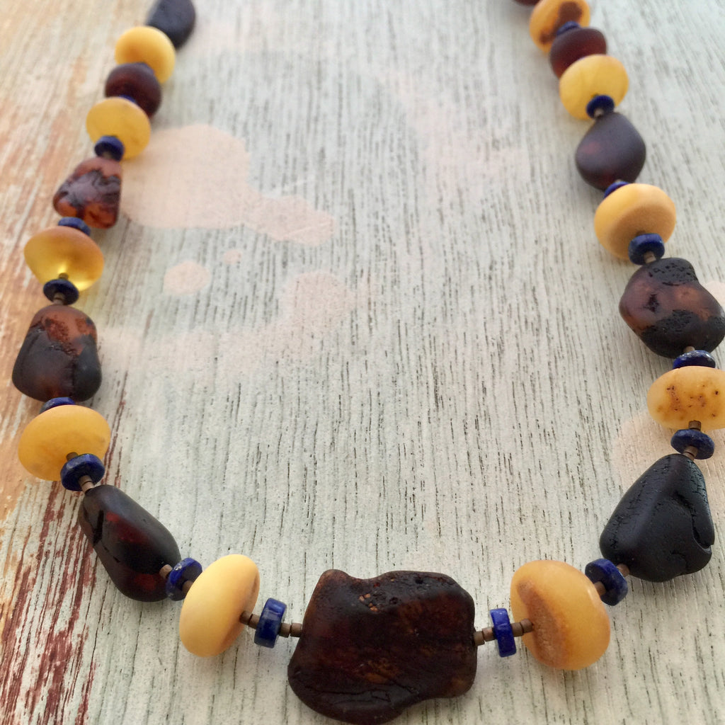 Baltic Amber and Lapis Necklace