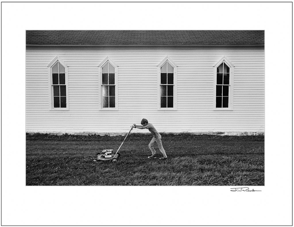 Mowing the Lawn at St. Isadore Church, Cuba, Kansas