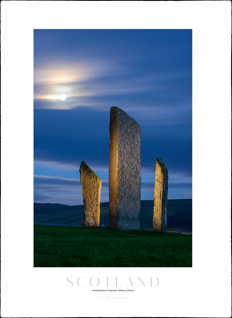 Moon over Stones of Stenness, Orkney, Scotland