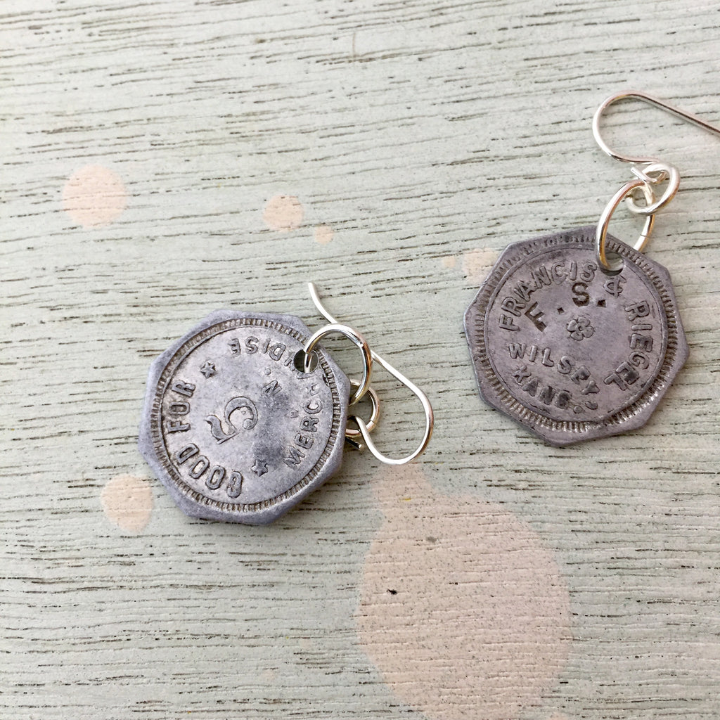 Wilsey, KS Trade Token Earrings