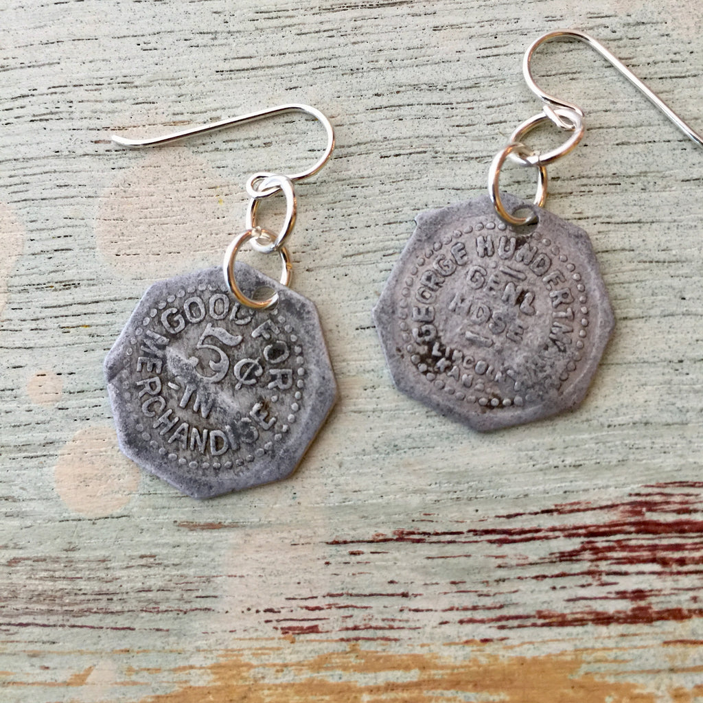 Lincoln, KS Trade Token Earrings