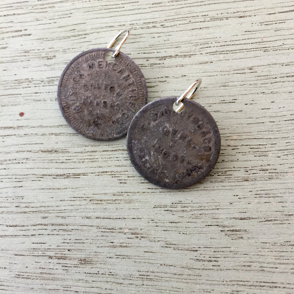 Canton, KS Trade Token Earrings