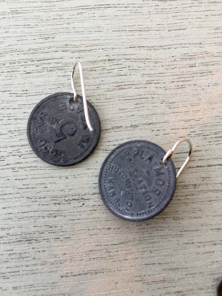 Hutchinson, KS Trade Token Earrings