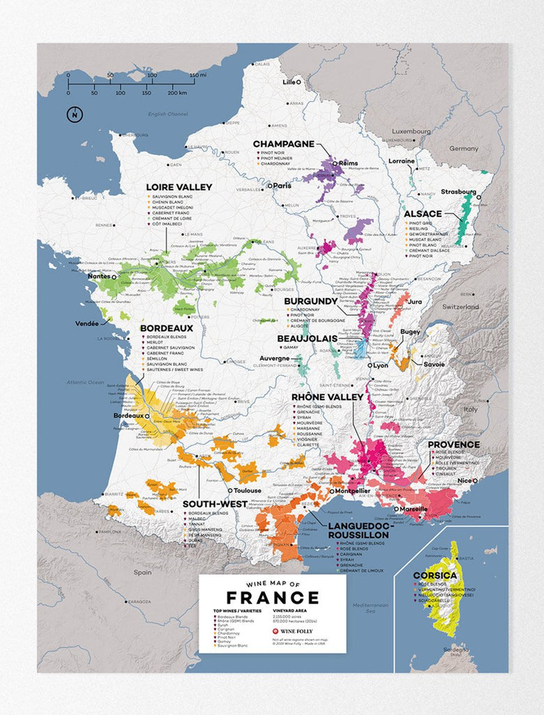 Large France Wine Map