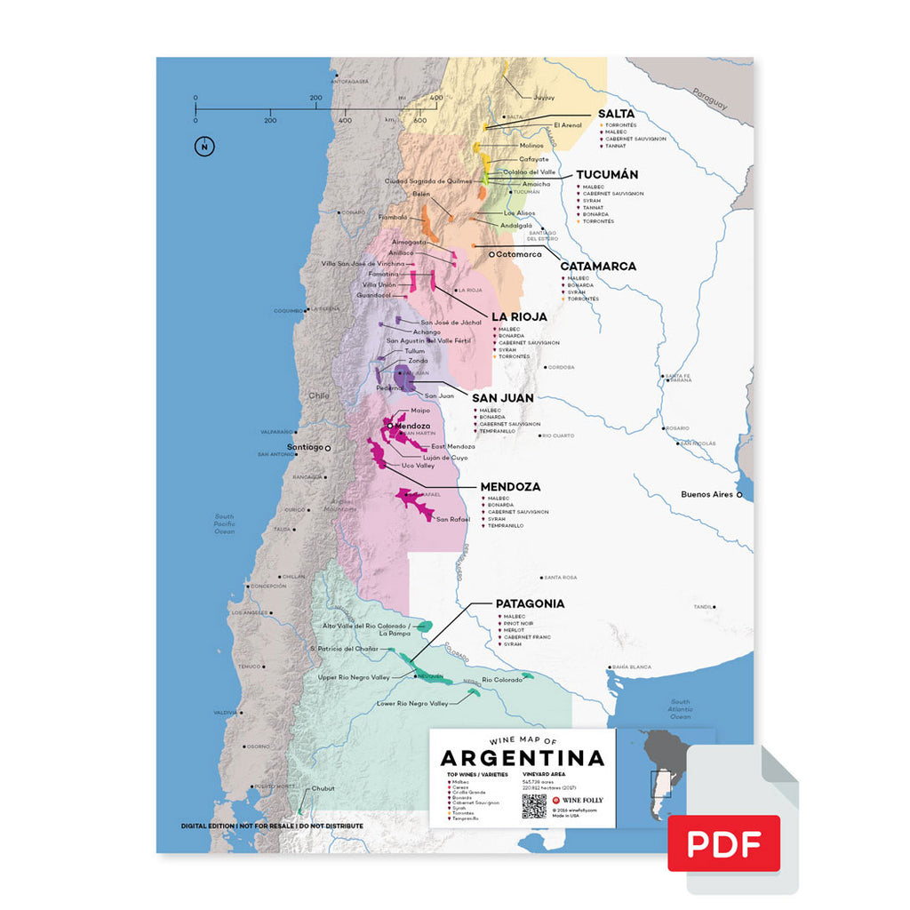 Argentina wine map digital download pdf region regional appellations grapes varieties topography elevation vineyard area acreage folly