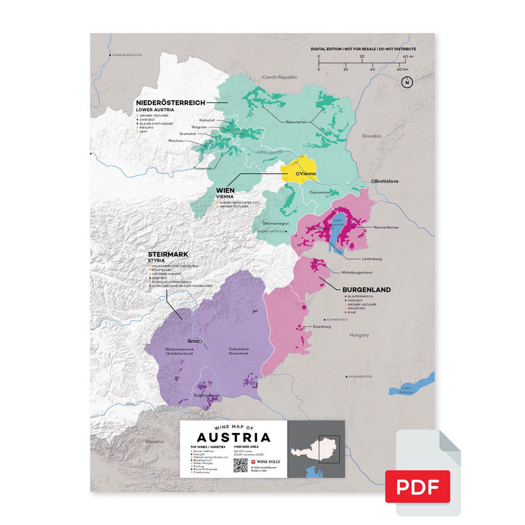 Austria wine map region regional appellations grapes varieties topography elevation vineyard area acreage folly digital download pdf