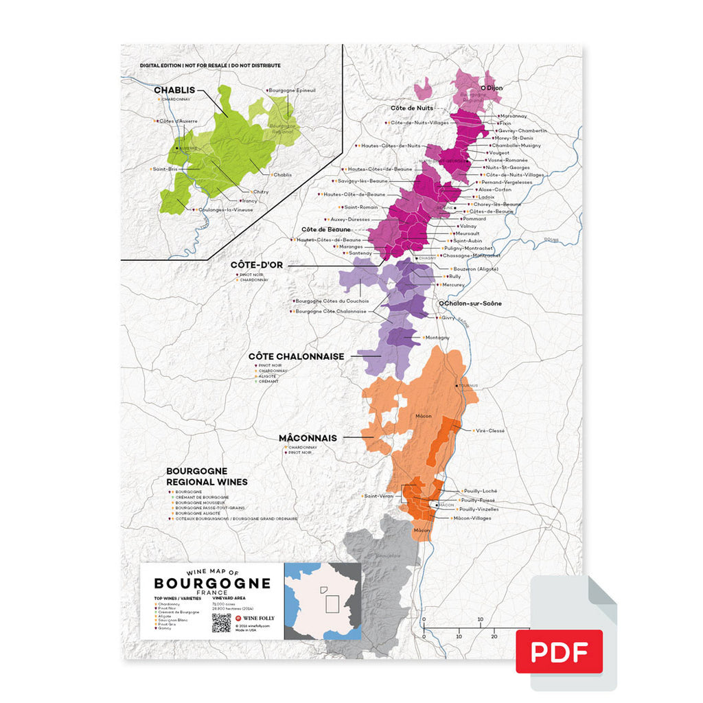 Burgundy wine map digital download pdf France region regional appellations grapes varieties topography elevation vineyard area acreage folly