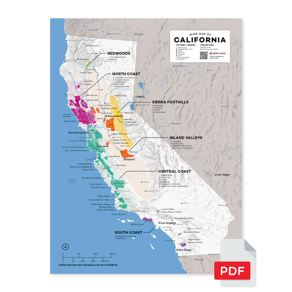California wine map digital download pdf region regional appellations grapes varieties topography elevation vineyard area acreage AVA folly