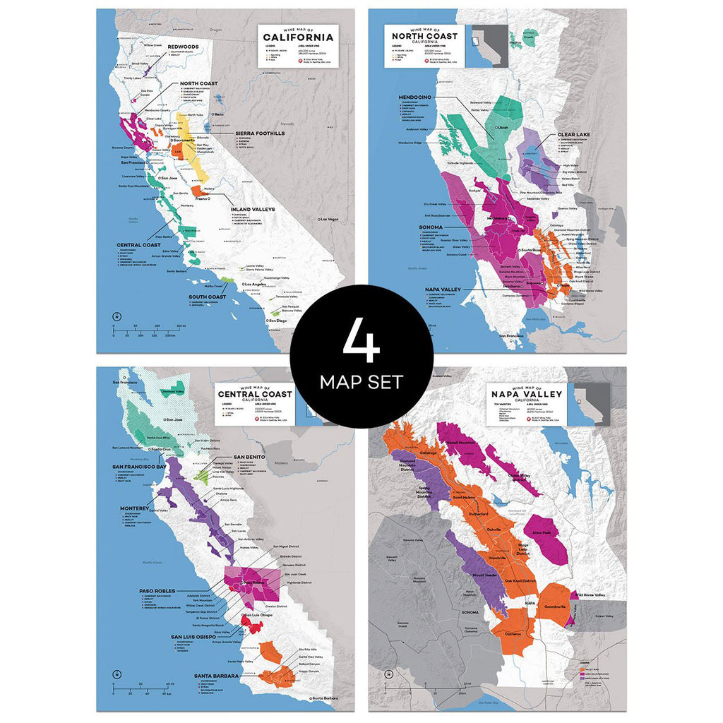 California wine map set region regional appellations grapes varieties topography elevation vineyard area acreage folly digital download pdf AVA