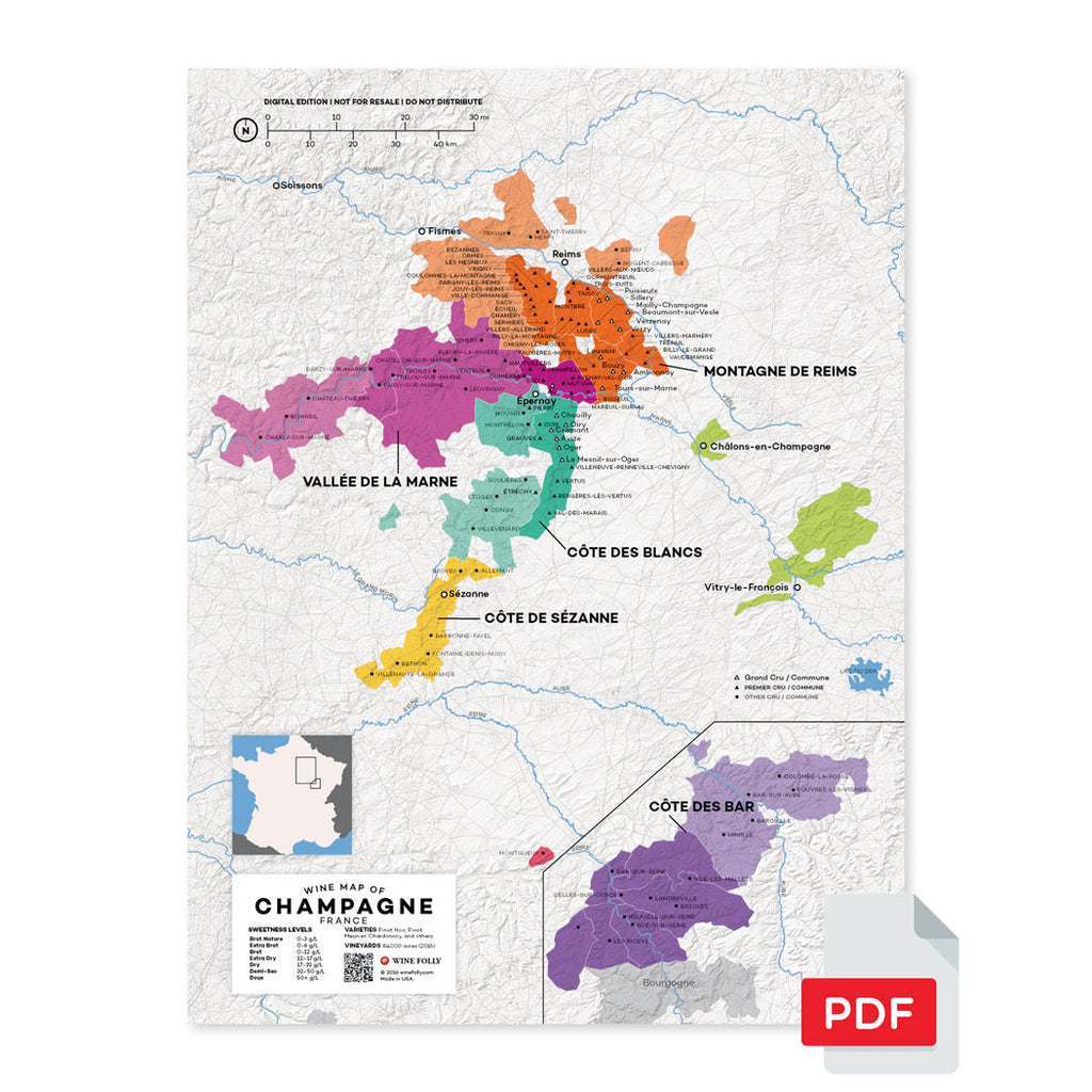 Champagne wine map digital download pdf France region regional appellations grapes varieties topography elevation vineyard area acreage folly