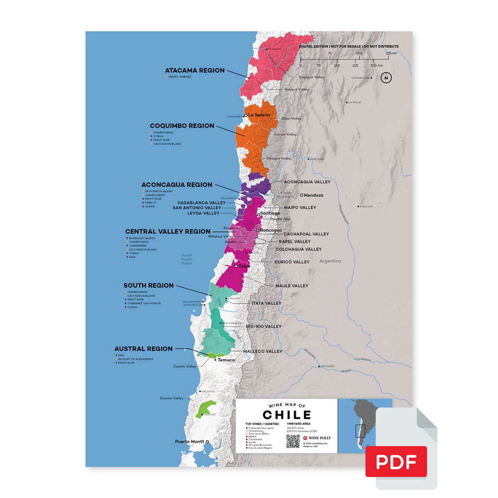 Chile wine map digital download pdf region regional appellations grapes varieties topography elevation vineyard area acreage folly