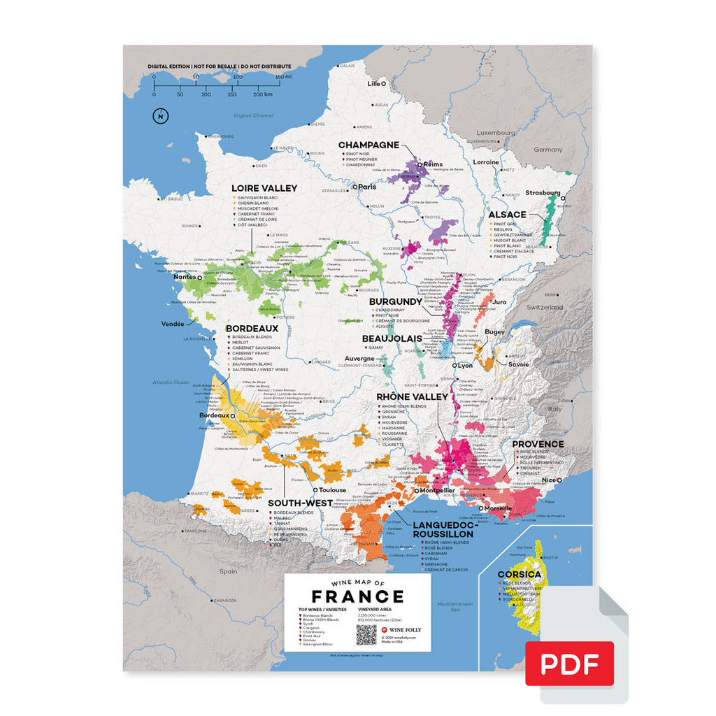 France wine map digital download pdf region regional appellations grapes varieties topography elevation vineyard area acreage folly