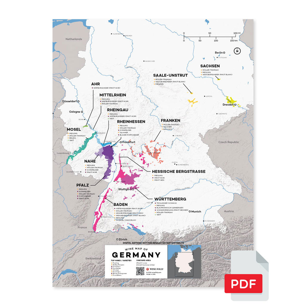Germany wine map region regional appellations grapes varieties topography elevation vineyard area acreage folly digital download pdf