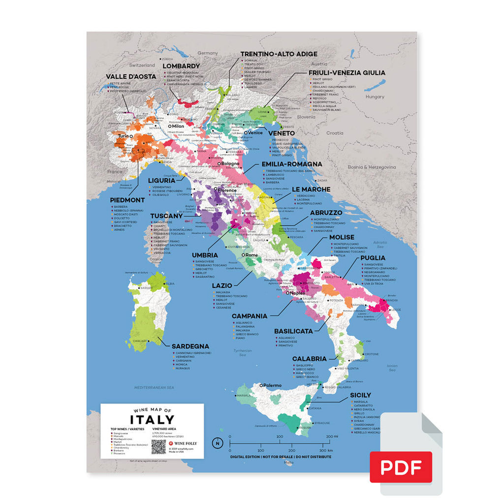 Italy wine map region regional appellations grapes varieties topography elevation vineyard area acreage folly digital download pdf