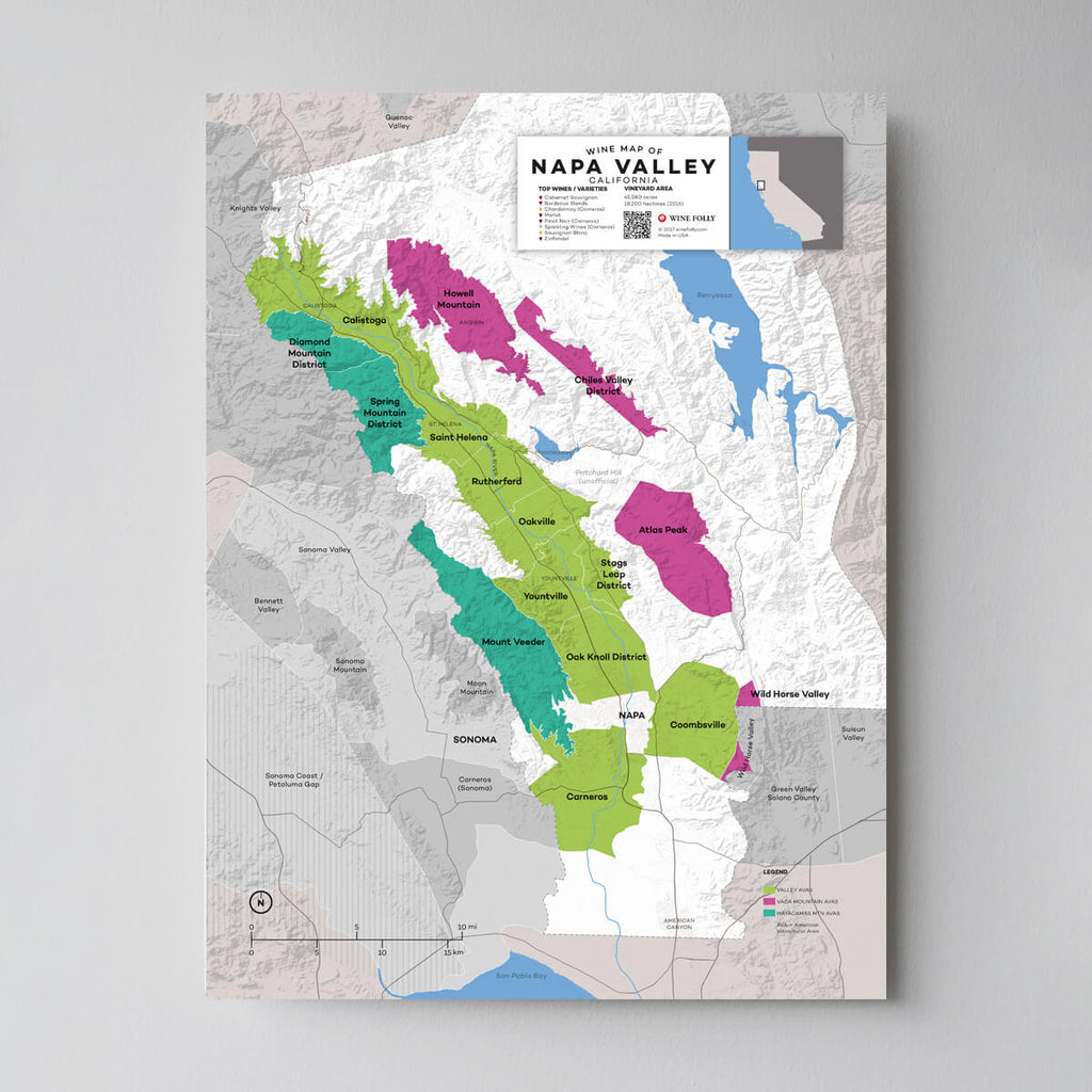 Napa Valley California Wine Map | Map of California Wine Regions | California Regional Map Set