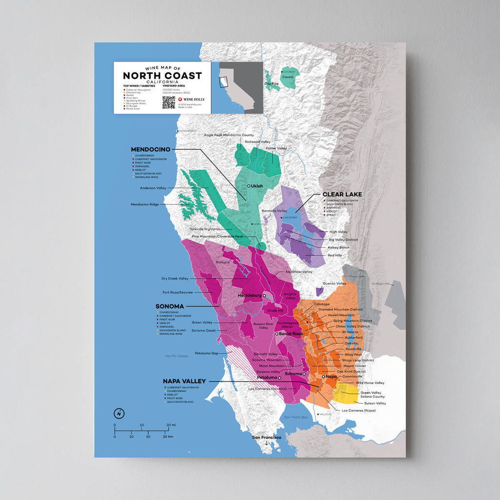 North Coast California Wine Map | Map of California Wine Regions | California Regional Map Set