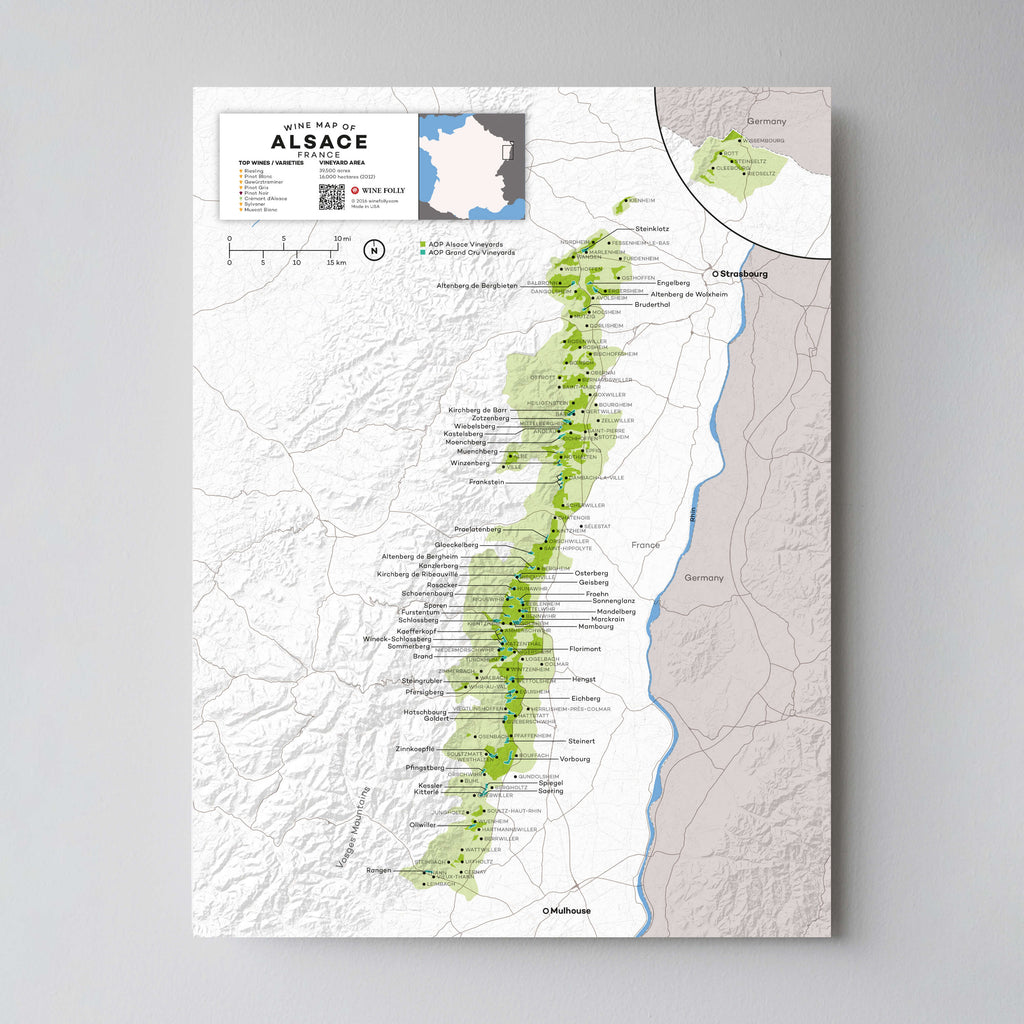 Alsace Wine Map | Map of France Wine Regions | France Wine Map Set