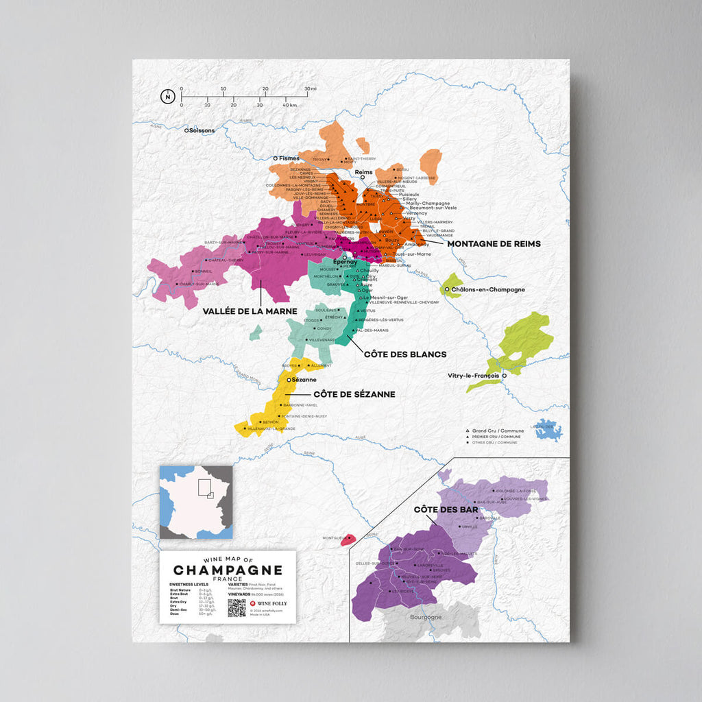 Champagne Wine Map | Map of France Wine Regions | France Wine Map Set