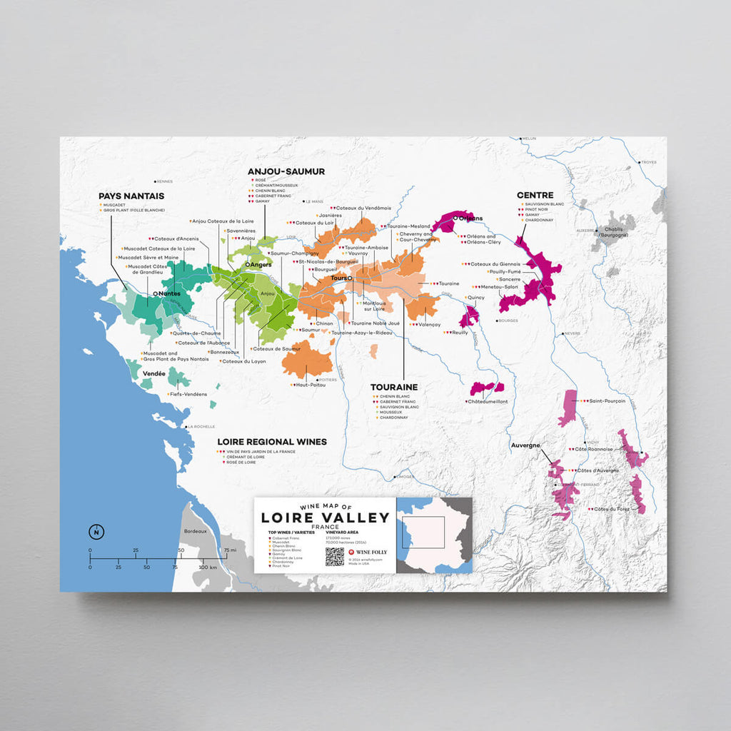 Loire Valley Wine Map | Map of France Wine Regions | France Wine Map Set