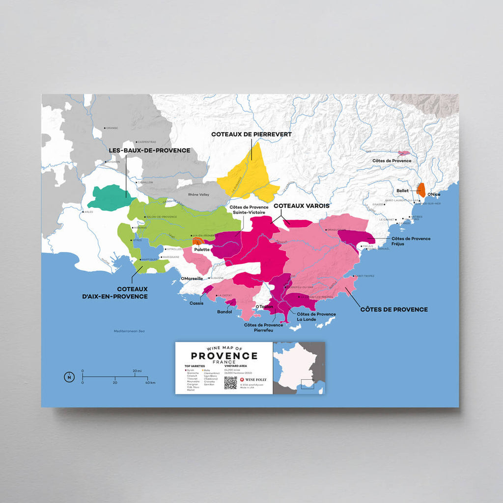 Provence Wine Map | Map of France Wine Regions | France Wine Map Set