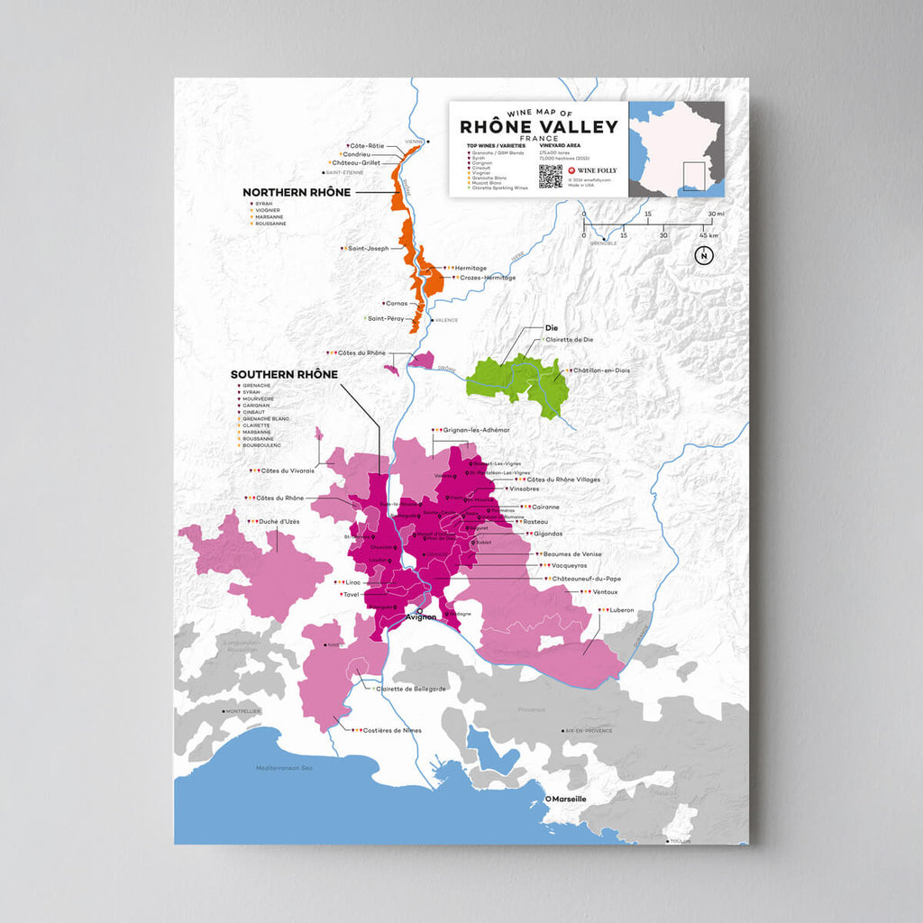 Rhone Valley Wine Map | Map of France Wine Regions | France Wine Map Set