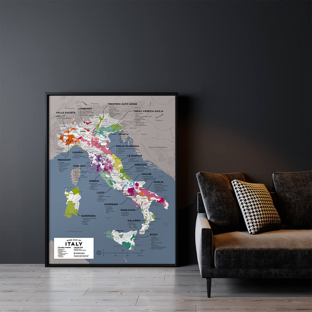 Large Italy Wine Map