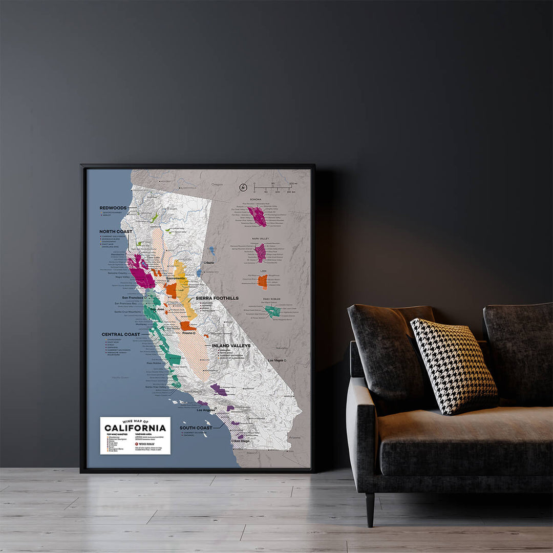 Large California Wine Map