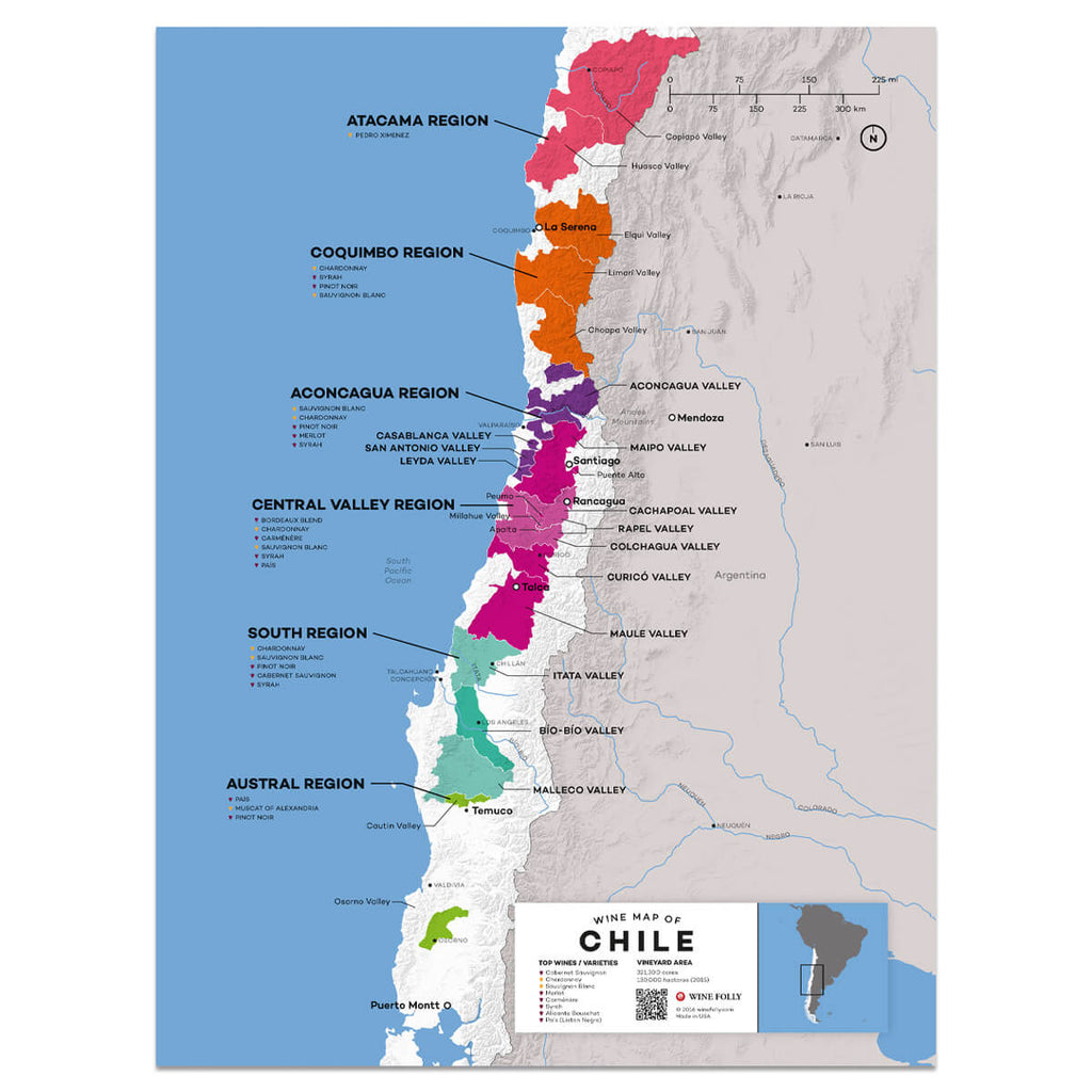 Map of Chile Wine Regions