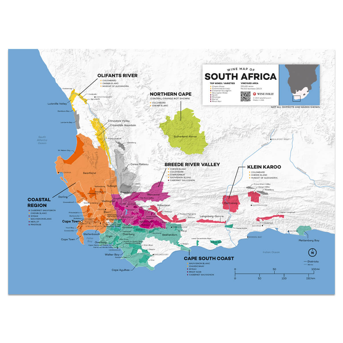 South Africa Wine Region Map Detailed South African Wine Regions Map | Wine Posters   Wine Folly