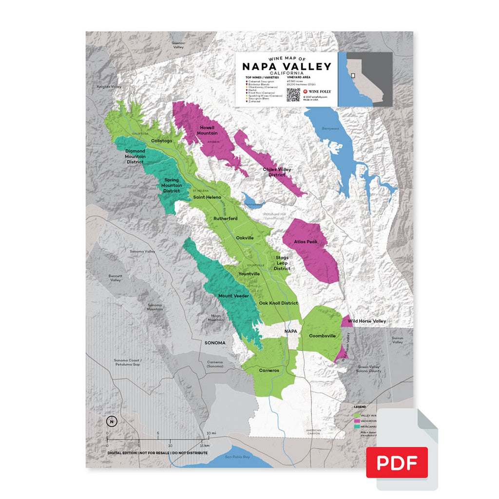 Napa wine map digital download pdf valley California region regional appellations grapes varieties topography elevation vineyard area acreage AVA folly