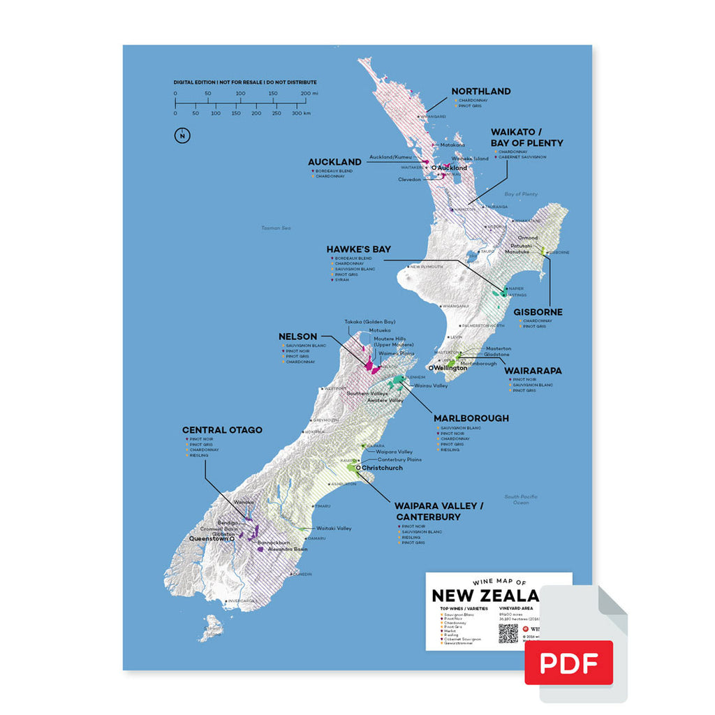 New Zealand wine map region regional appellations grapes varieties topography elevation vineyard area acreage folly digital download pdf