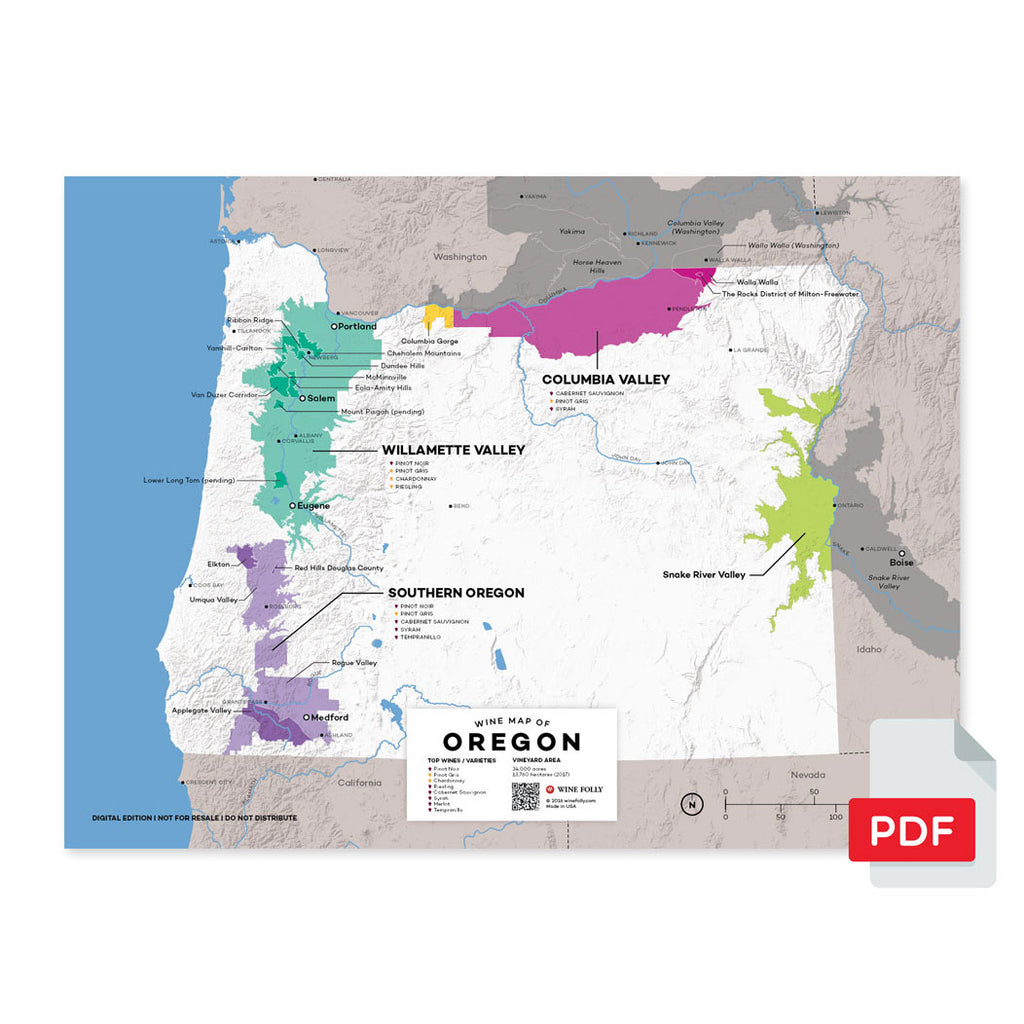 Oregon wine map region regional appellations grapes varieties topography elevation vineyard area acreage AVA folly digital download pdf