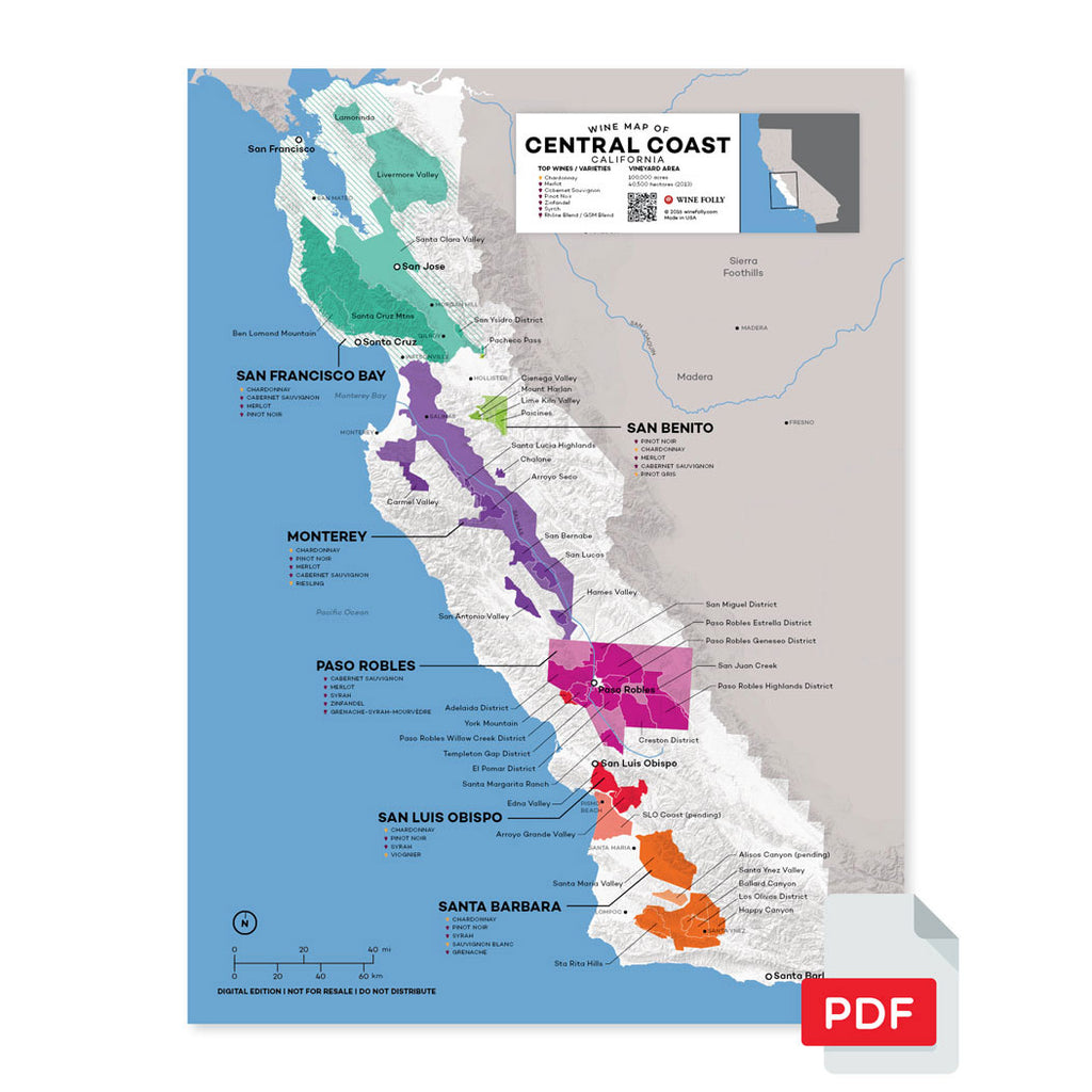 Paso Robles wine map digital download pdf Central Coast California San Luis Obispo Santa Barbara region regional appellations grapes varieties topography elevation vineyard area acreage AVA folly
