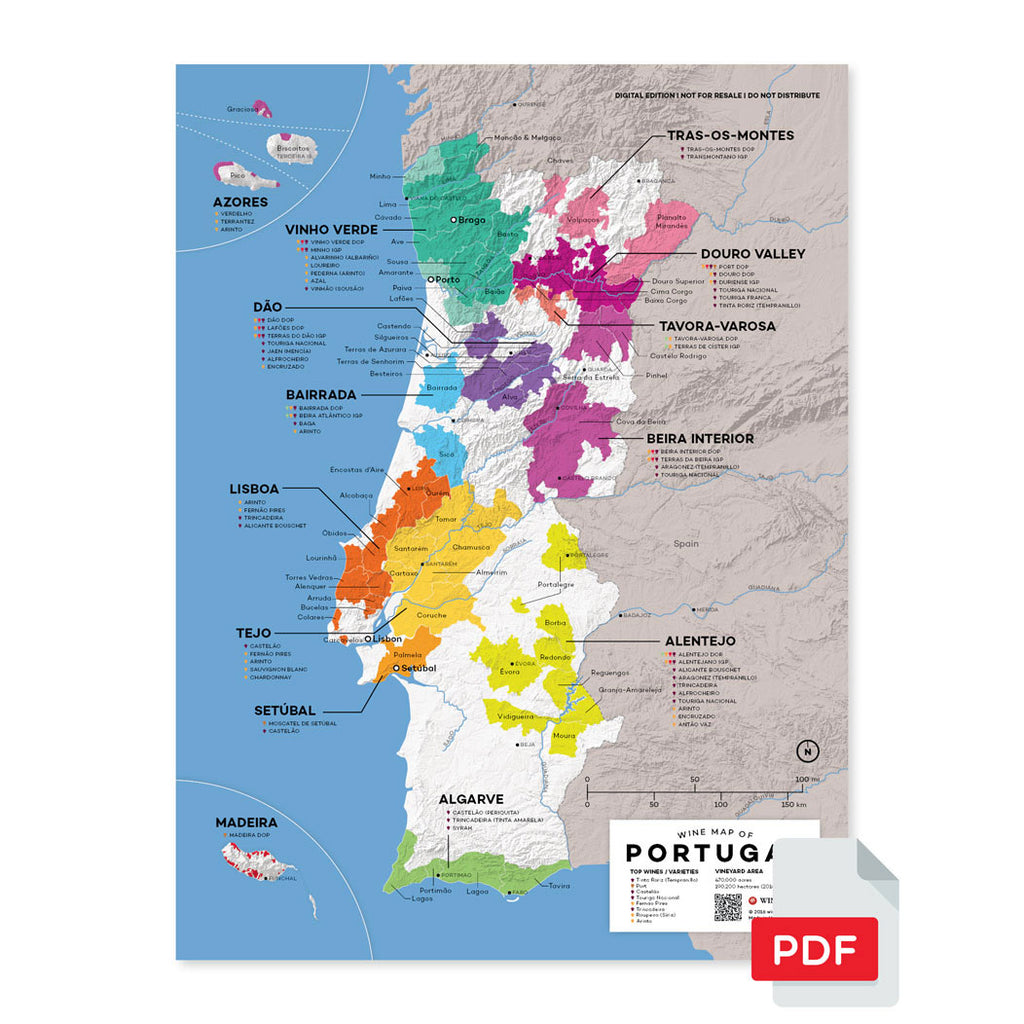 Portugal wine map region regional appellations grapes varieties topography elevation vineyard area acreage folly digital download pdf