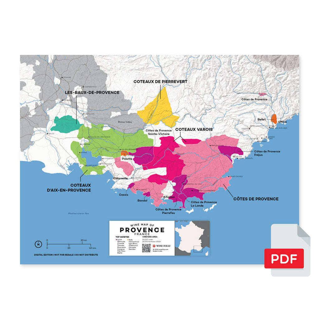 Provence wine map digital download pdf France region regional appellations grapes varieties topography elevation vineyard area acreage folly