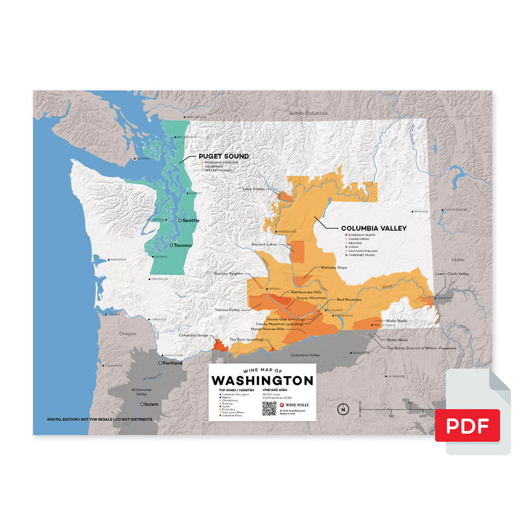 Washington wine map digital download pdf region regional appellations grapes varieties topography elevation vineyard area acreage AVA folly