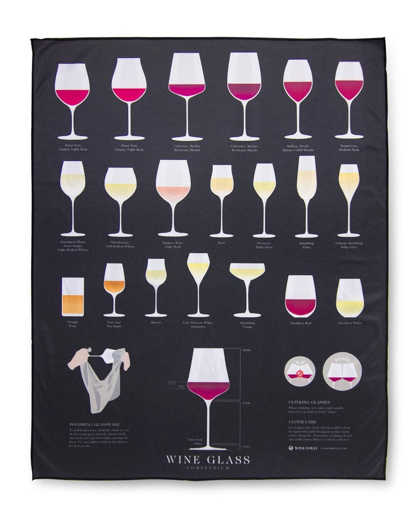 Microfiber polishing cloth for wine glasses with wine glass compendium by Wine Folly