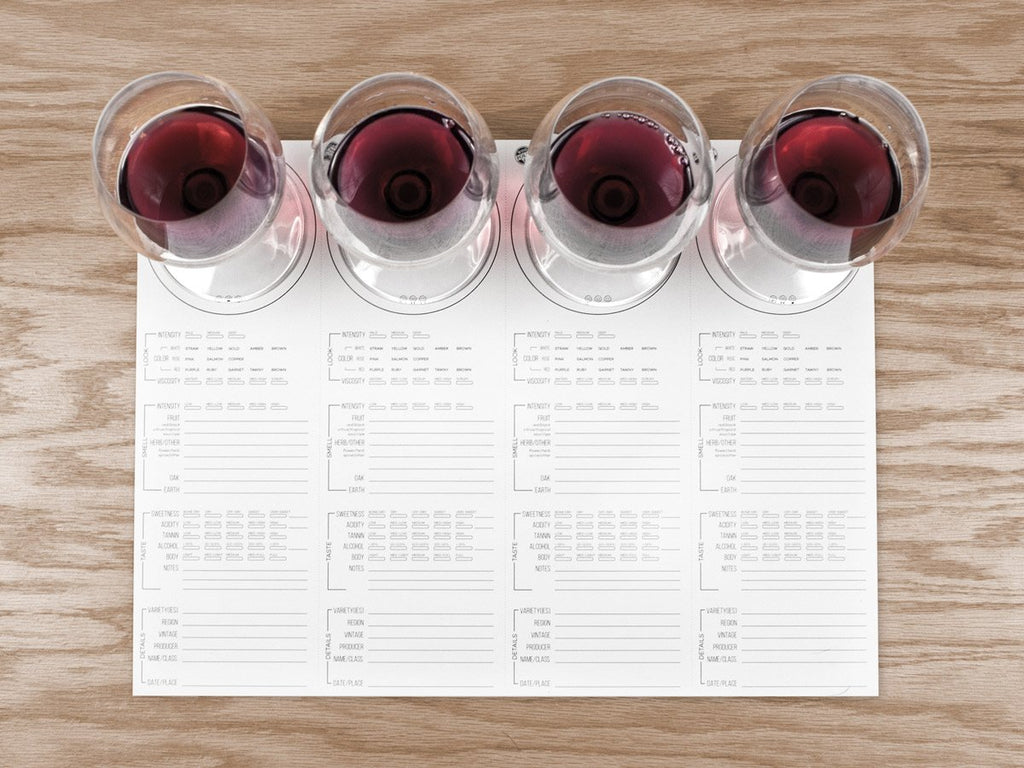 Wine Folly Tasting Placemats with Four glasses of red wine