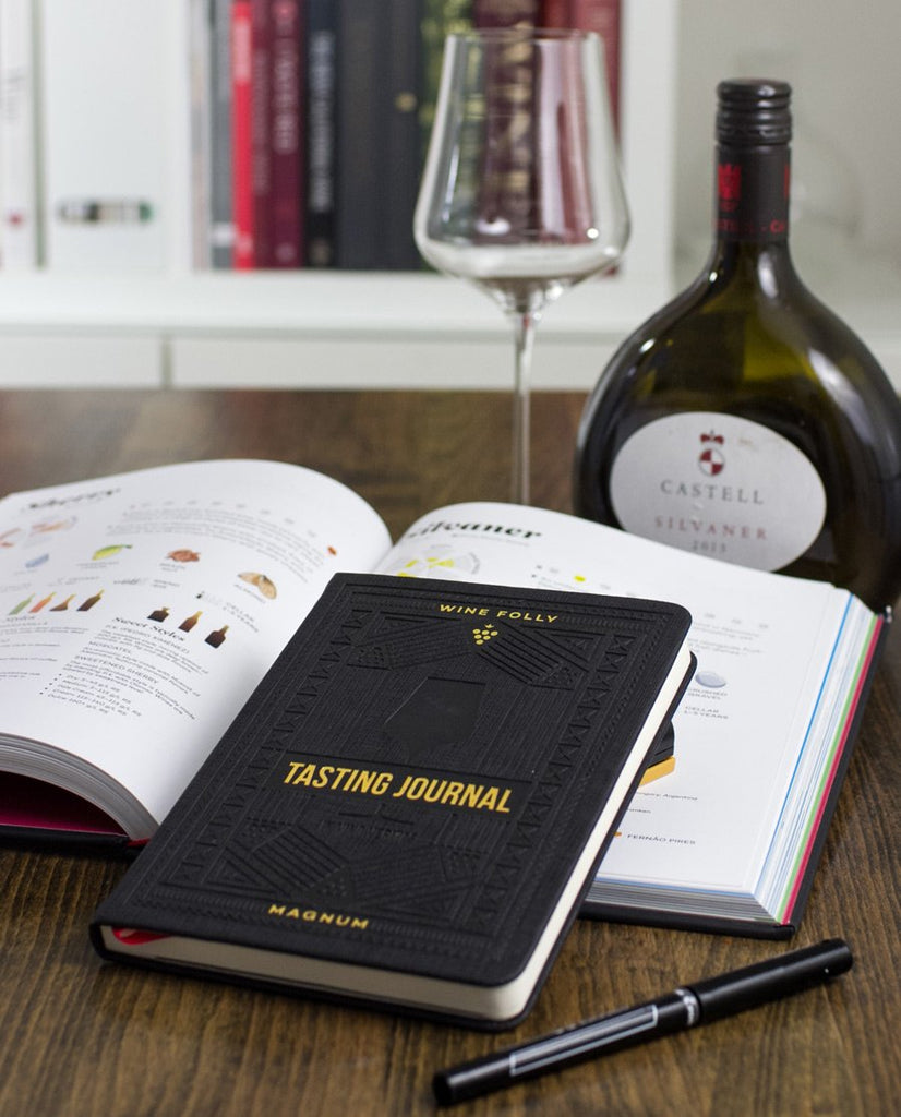 Wine Folly tasting journal with Gabriel Glas Universal Tasting Glass and Wine Folly Magnum Edition