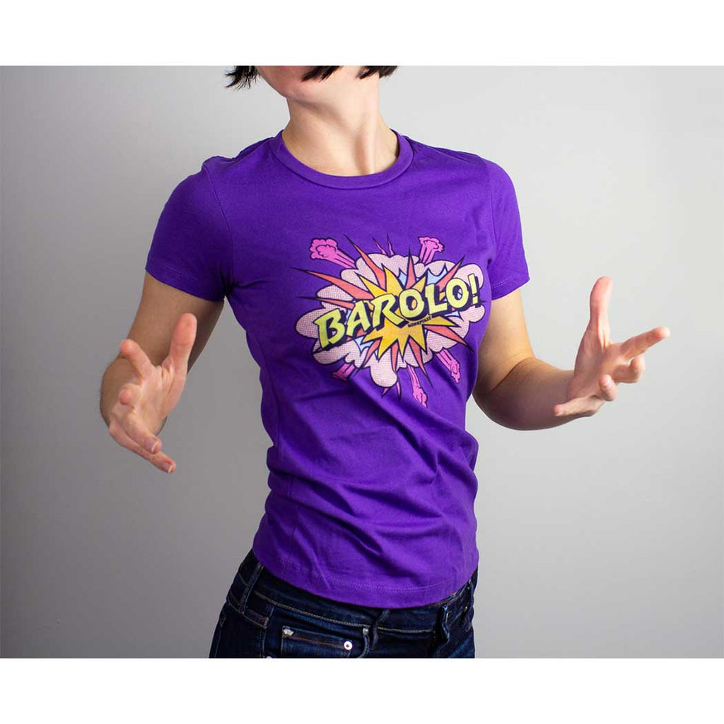 barolo wine t-shirt apparel female model woman lady girl purple