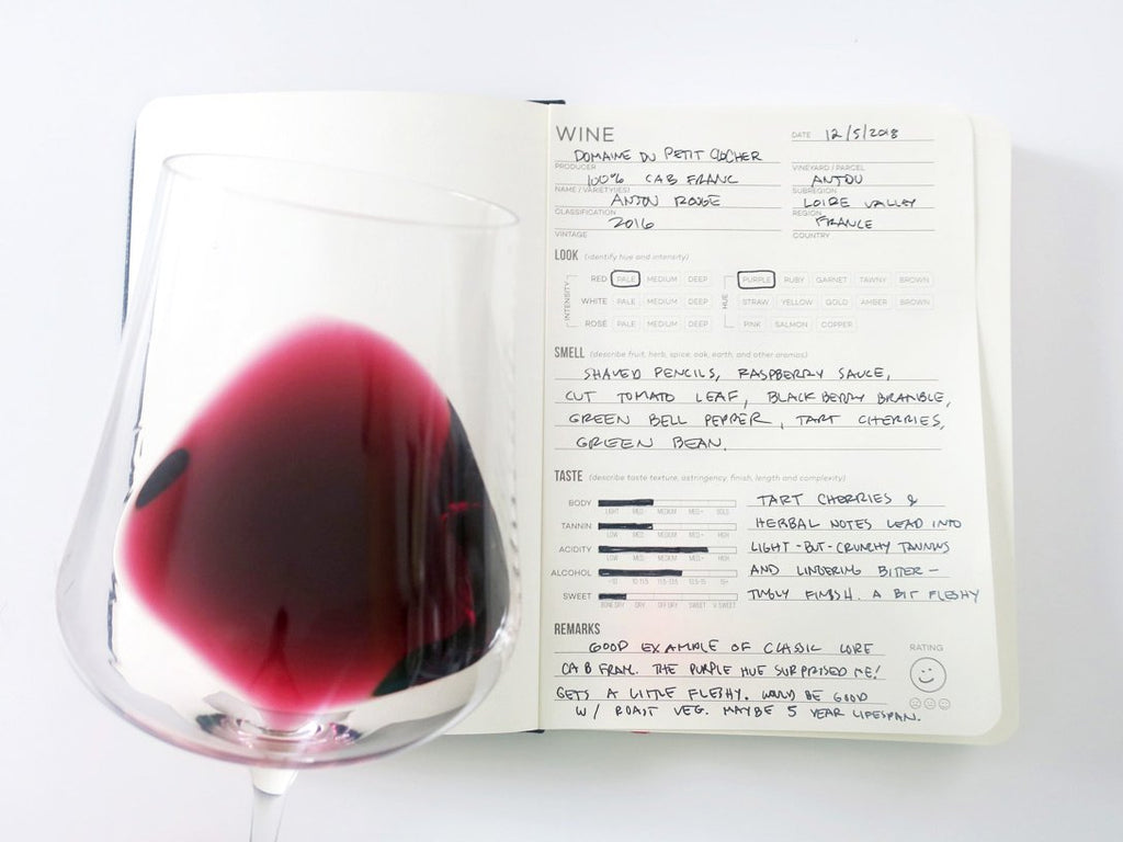 Opened Wine Folly Tasting Journal With Notes and a Glass of red wine