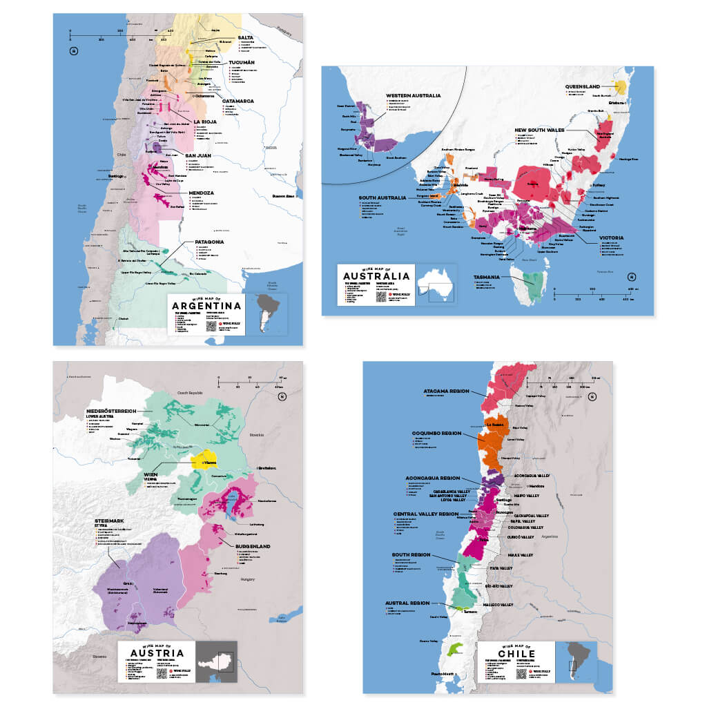 Complete Wine Region Map Set | Map of Argentina Wine Regions | Map of Australia Wine Regions | Map of Austria Wine Regions | Map of Chile Wine Regions