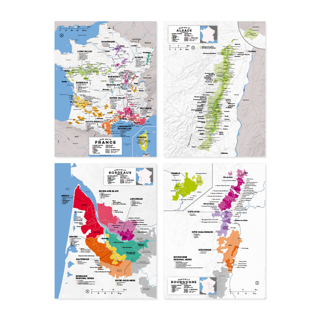Complete Wine Region Map Set | Map of France Wine Regions | Map of Alsace Wine Regions | Map of Bordeaux Wine Regions | Map of Burgundy (Bourgogne) Wine Regions