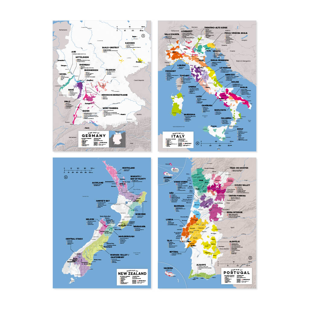 Complete Wine Region Map Set | Map of Germany Wine Regions | Map of Italy Wine Regions | Map of New Zealand Wine Regions | Map of Portugal Wine Regions