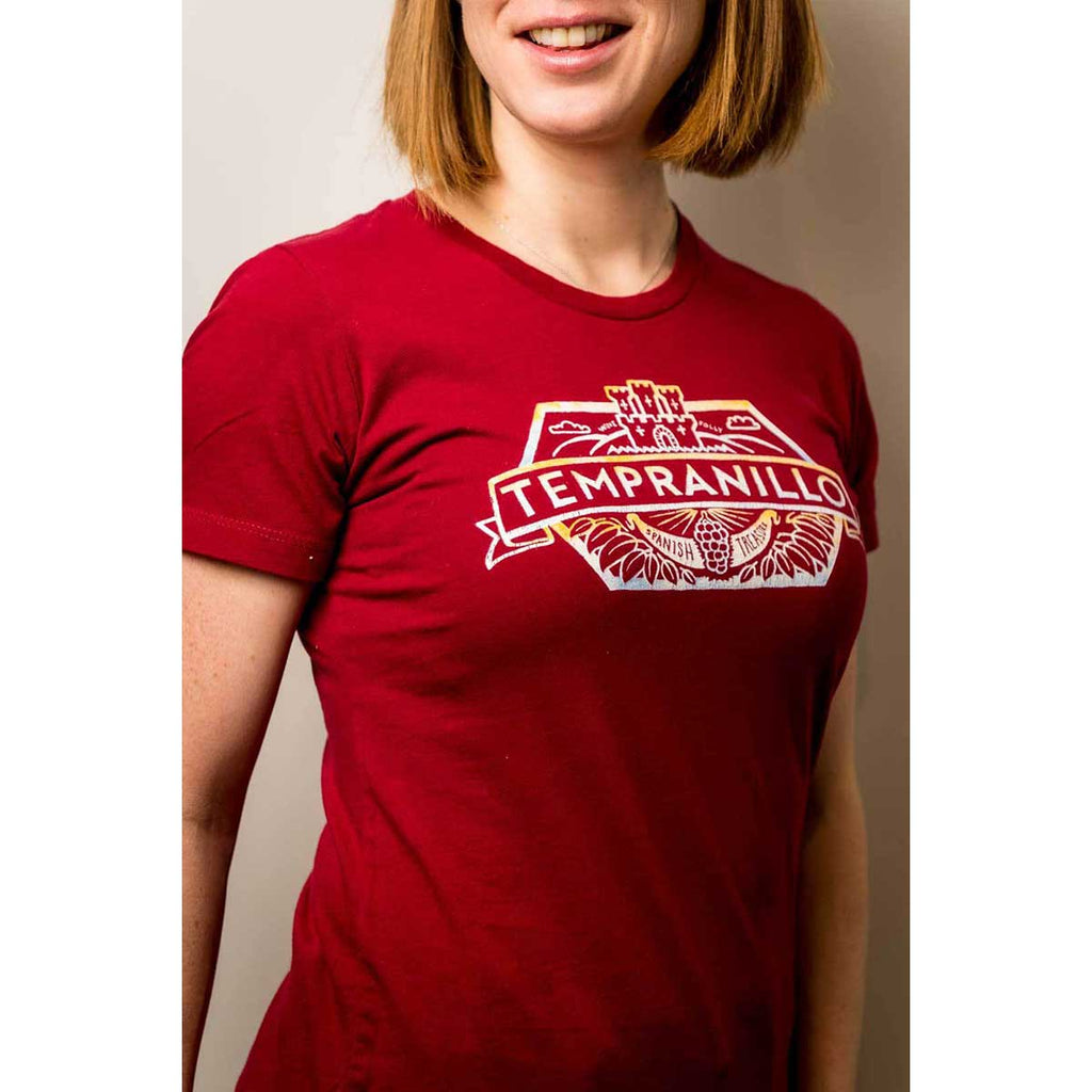 tempranillo wine t-shirt apparel model woman red